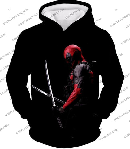 Image of Marvels Ultimate Mercenary Deadpool Cool Black T-Shirt Dp001 Hoodie / Us Xxs (Asian Xs)
