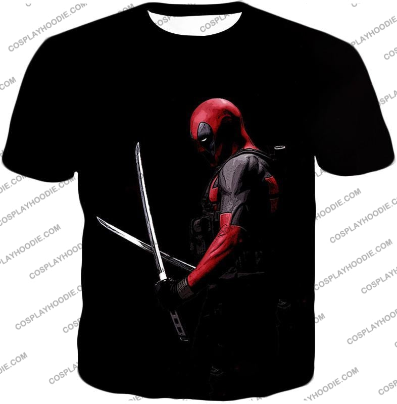 Marvels Ultimate Mercenary Deadpool Cool Black T-Shirt Dp001 / Us Xxs (Asian Xs)