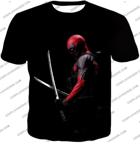 Image of Marvels Ultimate Mercenary Deadpool Cool Black T-Shirt Dp001 / Us Xxs (Asian Xs)