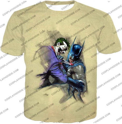Image of Dc Comic Favourite Joker X Batman Awesome Grey T-Shirt Bm001 / Us Xxs (Asian Xs)
