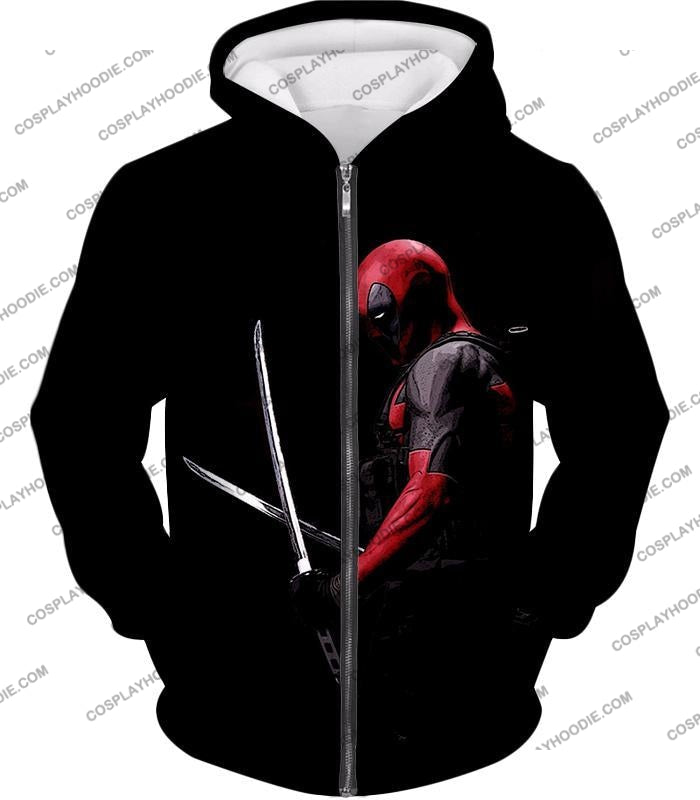 Marvels Ultimate Mercenary Deadpool Cool Black T-Shirt Dp001 Zip Up Hoodie / Us Xxs (Asian Xs)