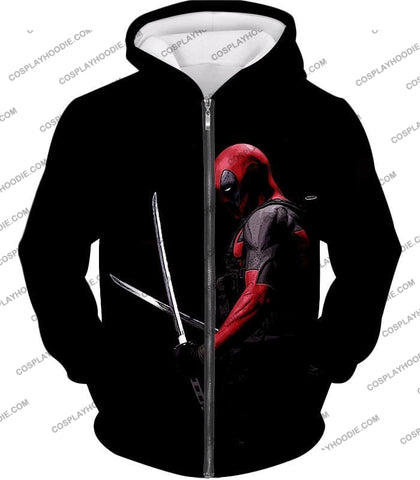 Image of Marvels Ultimate Mercenary Deadpool Cool Black T-Shirt Dp001 Zip Up Hoodie / Us Xxs (Asian Xs)