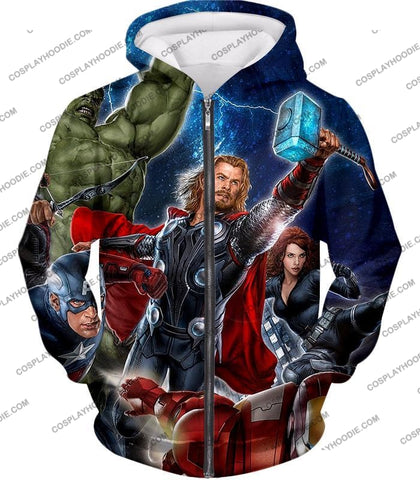Image of Cool Marvel Superheroes Avengers T-Shirt Thor001 Zip Up Hoodie / Us Xxs (Asian Xs)
