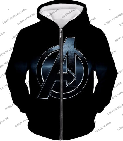 Image of The Avengers Awesome Black Logo T-Shirt Ta001 Zip Up Hoodie / Us Xxs (Asian Xs)