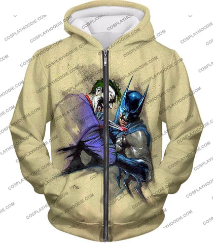 Image of Dc Comic Favourite Joker X Batman Awesome Grey T-Shirt Bm001 Zip Up Hoodie / Us Xxs (Asian Xs)