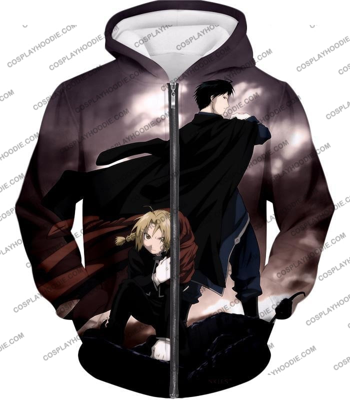 Fullmetal Alchemist Amazing State Alchemists Edward X Roy Awesome Anime T-Shirt Fa001 Zip Up Hoodie
