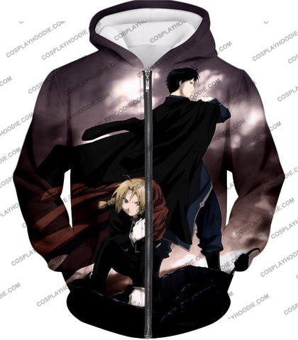 Image of Fullmetal Alchemist Amazing State Alchemists Edward X Roy Awesome Anime T-Shirt Fa001 Zip Up Hoodie