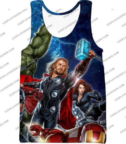 Image of Cool Marvel Superheroes Avengers T-Shirt Thor001 Tank Top / Us Xxs (Asian Xs)