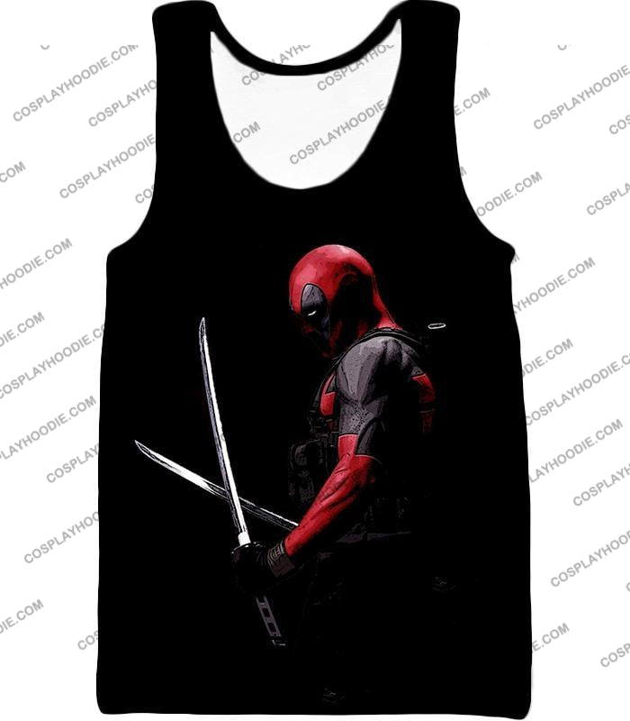 Marvels Ultimate Mercenary Deadpool Cool Black T-Shirt Dp001 Tank Top / Us Xxs (Asian Xs)