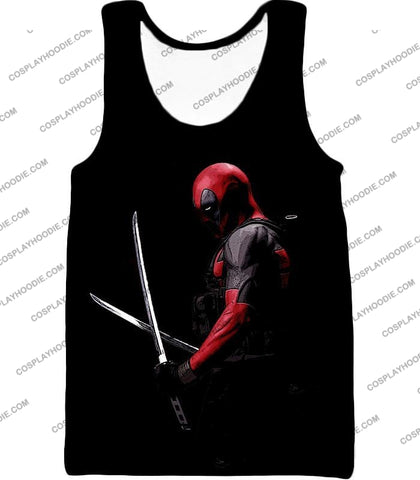 Image of Marvels Ultimate Mercenary Deadpool Cool Black T-Shirt Dp001 Tank Top / Us Xxs (Asian Xs)