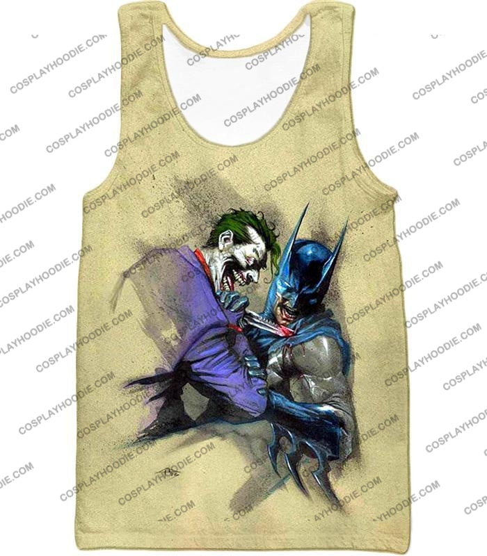Dc Comic Favourite Joker X Batman Awesome Grey T-Shirt Bm001 Tank Top / Us Xxs (Asian Xs)