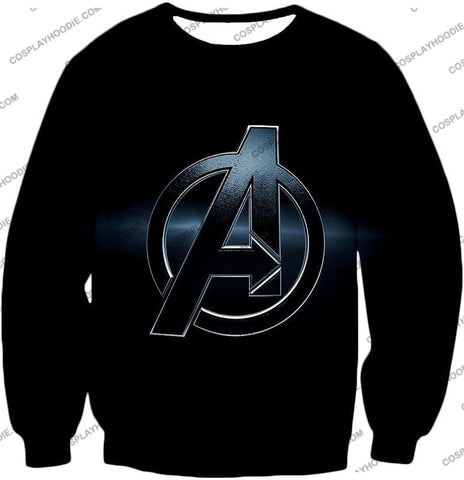 Image of The Avengers Awesome Black Logo T-Shirt Ta001 Sweatshirt / Us Xxs (Asian Xs)