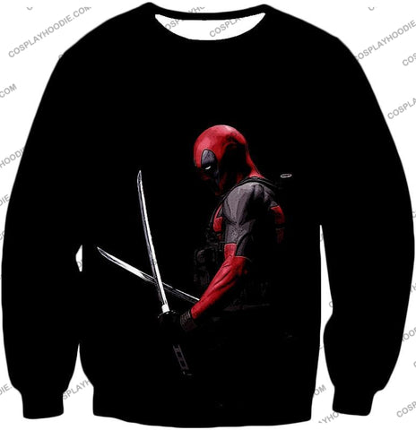 Image of Marvels Ultimate Mercenary Deadpool Cool Black T-Shirt Dp001 Sweatshirt / Us Xxs (Asian Xs)