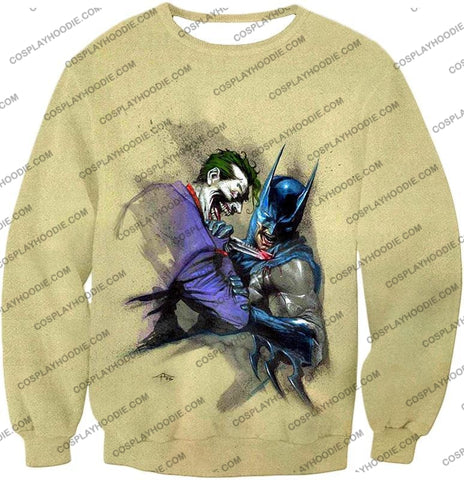 Image of Dc Comic Favourite Joker X Batman Awesome Grey T-Shirt Bm001 Sweatshirt / Us Xxs (Asian Xs)