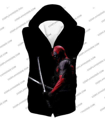 Image of Marvels Ultimate Mercenary Deadpool Cool Black T-Shirt Dp001 Hooded Tank Top / Us Xxs (Asian Xs)