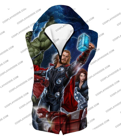 Image of Cool Marvel Superheroes Avengers T-Shirt Thor001 Hooded Tank Top / Us Xxs (Asian Xs)