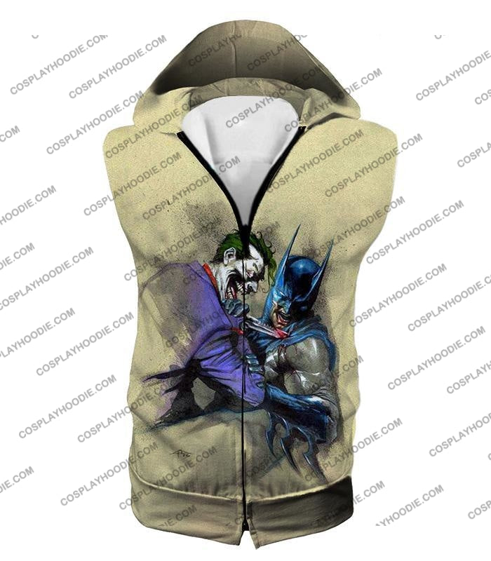 Dc Comic Favourite Joker X Batman Awesome Grey T-Shirt Bm001 Hooded Tank Top / Us Xxs (Asian Xs)