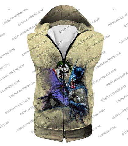 Image of Dc Comic Favourite Joker X Batman Awesome Grey T-Shirt Bm001 Hooded Tank Top / Us Xxs (Asian Xs)