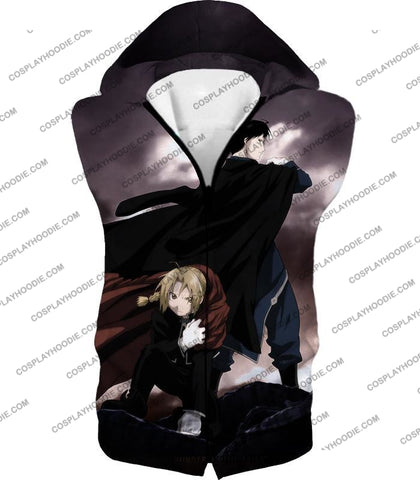 Image of Fullmetal Alchemist Amazing State Alchemists Edward X Roy Awesome Anime T-Shirt Fa001 Hooded Tank