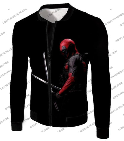Image of Marvels Ultimate Mercenary Deadpool Cool Black T-Shirt Dp001 Jacket / Us Xxs (Asian Xs)