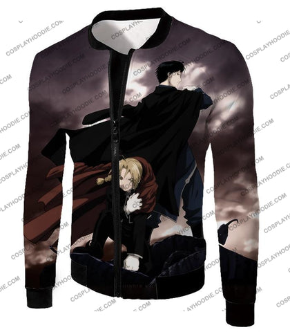 Image of Fullmetal Alchemist Amazing State Alchemists Edward X Roy Awesome Anime T-Shirt Fa001 Jacket / Us
