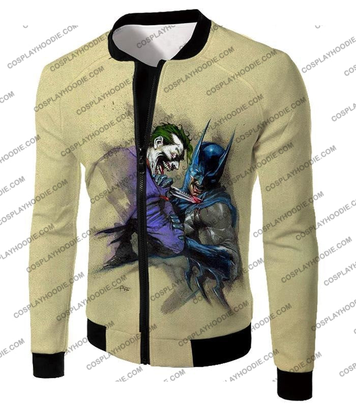 Dc Comic Favourite Joker X Batman Awesome Grey T-Shirt Bm001 Jacket / Us Xxs (Asian Xs)