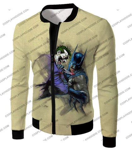 Image of Dc Comic Favourite Joker X Batman Awesome Grey T-Shirt Bm001 Jacket / Us Xxs (Asian Xs)