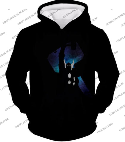Image of Marvels Ultimate Hero Thor Promo Black T-Shirt Thor010 Hoodie / Us Xxs (Asian Xs)