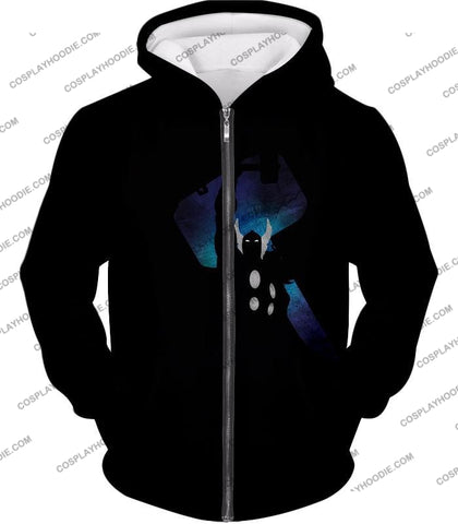 Image of Marvels Ultimate Hero Thor Promo Black T-Shirt Thor010 Zip Up Hoodie / Us Xxs (Asian Xs)