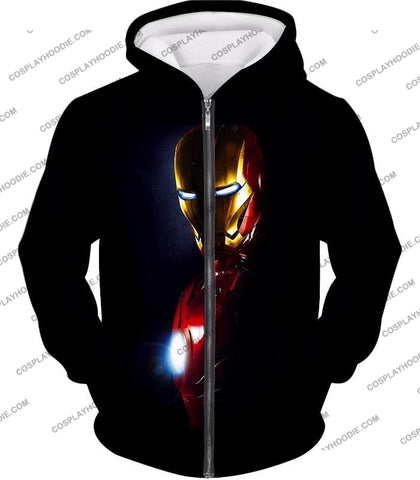 Image of Best Superhero Iron Man Black T-Shirt Im010 Zip Up Hoodie / Us Xxs (Asian Xs)
