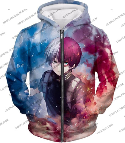 Image of My Hero Academia Super Skilled Half Cold Hot Shoto Ultimate Action T-Shirt Mha060 Zip Up Hoodie / Us