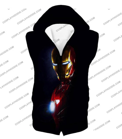 Image of Best Superhero Iron Man Black T-Shirt Im010 Hooded Tank Top / Us Xxs (Asian Xs)