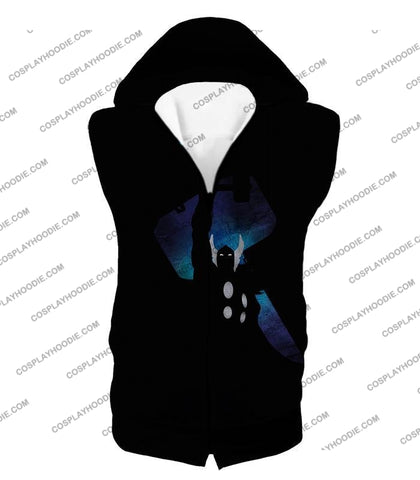 Image of Marvels Ultimate Hero Thor Promo Black T-Shirt Thor010 Hooded Tank Top / Us Xxs (Asian Xs)