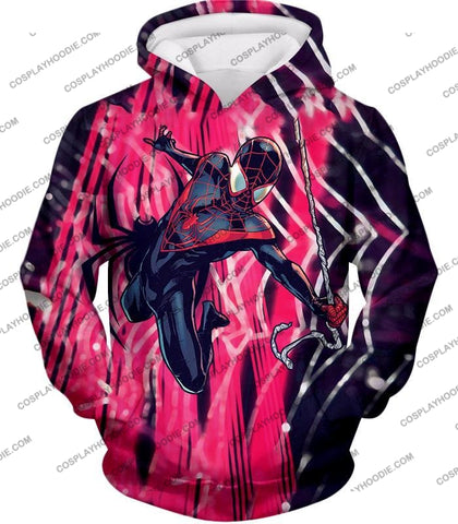 Image of Amazing Black Spiderman Animated Action T-Shirt Sp100 Hoodie / Us Xxs (Asian Xs)