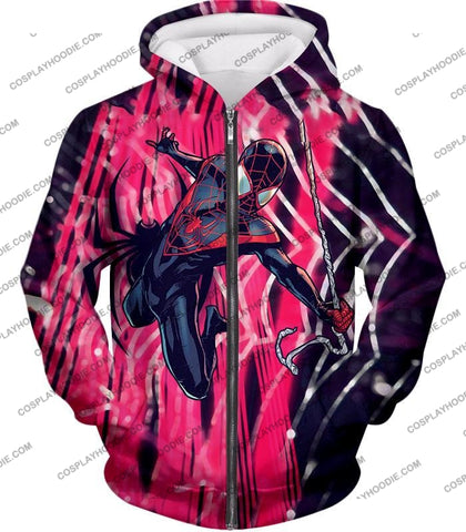Image of Amazing Black Spiderman Animated Action T-Shirt Sp100 Zip Up Hoodie / Us Xxs (Asian Xs)