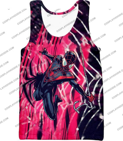 Image of Amazing Black Spiderman Animated Action T-Shirt Sp100 Tank Top / Us Xxs (Asian Xs)