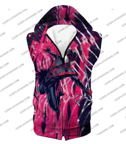 Image of Amazing Black Spiderman Animated Action T-Shirt Sp100 Hooded Tank Top / Us Xxs (Asian Xs)