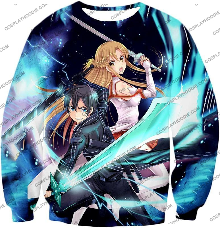 Sword Art Online Best Sao Anime Couple Kirito And Asuna Ultimate Action Graphic Promo T-Shirt Sao101
