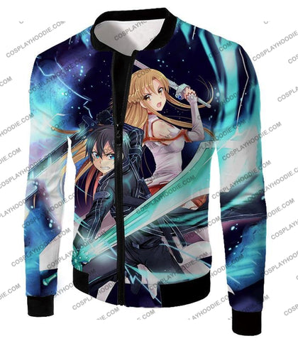Image of Sword Art Online Best Sao Anime Couple Kirito And Asuna Ultimate Action Graphic Promo T-Shirt Sao101