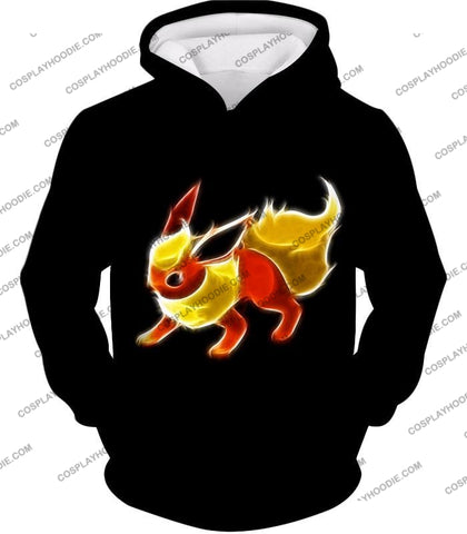 Image of Pokemon Awesome Fire Type Eevee Evolution Flareon Cool Black T-Shirt Pkm102 Hoodie / Us Xxs (Asian