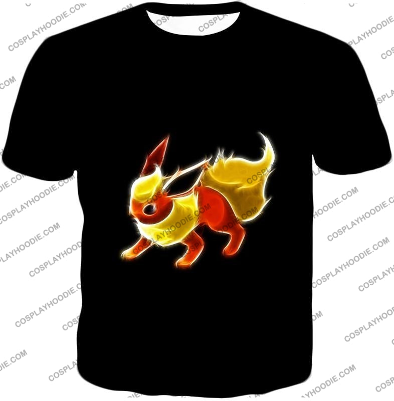 Pokemon Awesome Fire Type Eevee Evolution Flareon Cool Black T-Shirt Pkm102 / Us Xxs (Asian Xs)