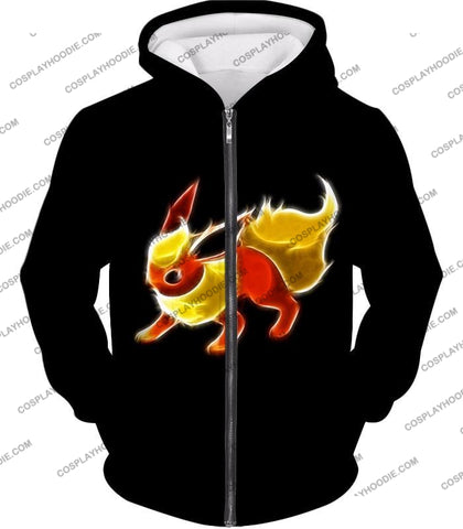 Image of Pokemon Awesome Fire Type Eevee Evolution Flareon Cool Black T-Shirt Pkm102 Zip Up Hoodie / Us Xxs