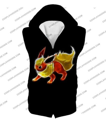 Image of Pokemon Awesome Fire Type Eevee Evolution Flareon Cool Black T-Shirt Pkm102 Hooded Tank Top / Us Xxs
