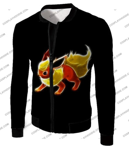 Image of Pokemon Awesome Fire Type Eevee Evolution Flareon Cool Black T-Shirt Pkm102 Jacket / Us Xxs (Asian