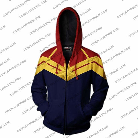Captain Marvel Jacket-Zip Up Hoodie Cosplay Jacket