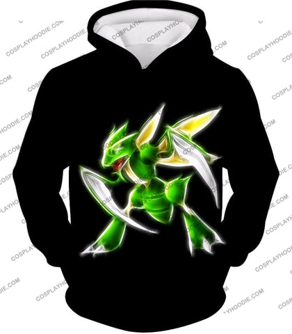 Image of Pokemon Awesome Flying Bug Type Scyther Cool Black T-Shirt Pkm104 Hoodie / Us Xxs (Asian Xs)