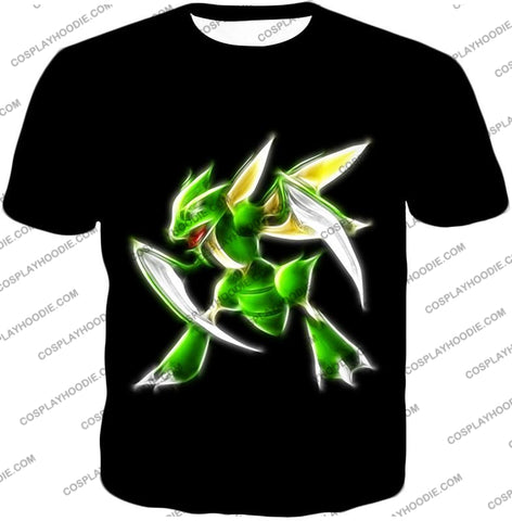 Image of Pokemon Awesome Flying Bug Type Scyther Cool Black T-Shirt Pkm104 / Us Xxs (Asian Xs)