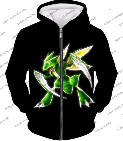 Image of Pokemon Awesome Flying Bug Type Scyther Cool Black T-Shirt Pkm104 Zip Up Hoodie / Us Xxs (Asian Xs)