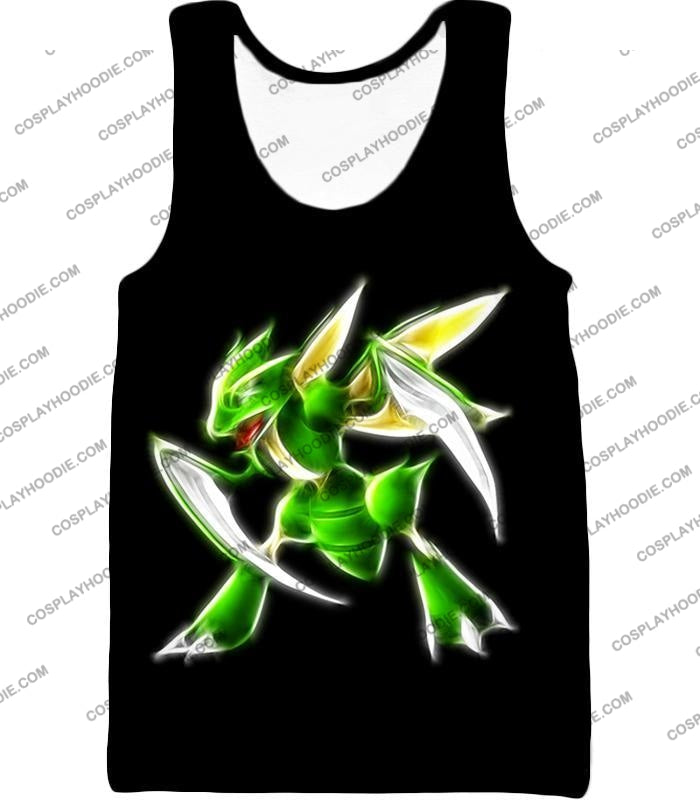 Pokemon Awesome Flying Bug Type Scyther Cool Black T-Shirt Pkm104 Tank Top / Us Xxs (Asian Xs)