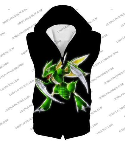 Image of Pokemon Awesome Flying Bug Type Scyther Cool Black T-Shirt Pkm104 Hooded Tank Top / Us Xxs (Asian